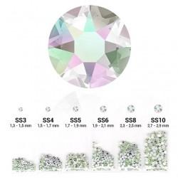 Strass 6 tailles en 1 sachet couleur crystal Aurora