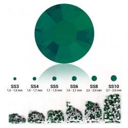 Strass 6 tailles en 1 sachet couleur Emerald