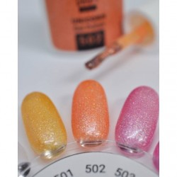 vernis semi-permanent, gel lac 7ml n°502, orange pailleté unicorn, Pearl Nails, manucure, ongles