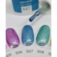 vernis semi-permanent, gel lac 7ml n°507, bleu pailleté unicorn, Pearl Nails, manucure, ongles